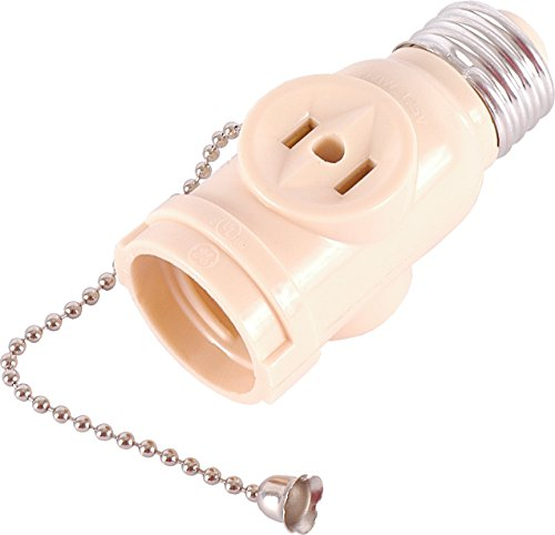GE 54180 Socket Adapter with Pull Chain Light Control and 2 Outlet, Ivory