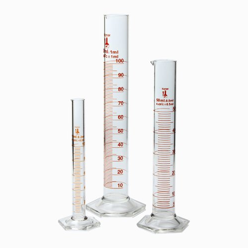 213C2 Karter Scientific Glass Graduated Cylinder 3 Piece Set 10, 50 & 100ml