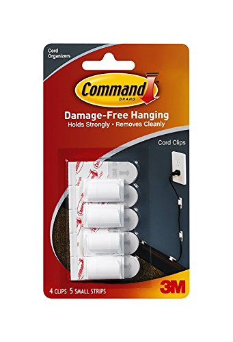 Command Cord Clips, 4-Clip, 5-Strip