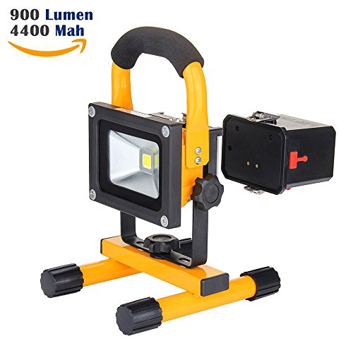 10W Work Light: LOFTEK Portable LED Outdoor Flood Light and Detachable 4400mAh Battery Charger, Waterproof, 700-900lm,Yellow