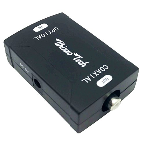 Whizzotech Toslink Optical to Coax Coaxial Digital Audio Converter Black 24bit/192K sampling rate