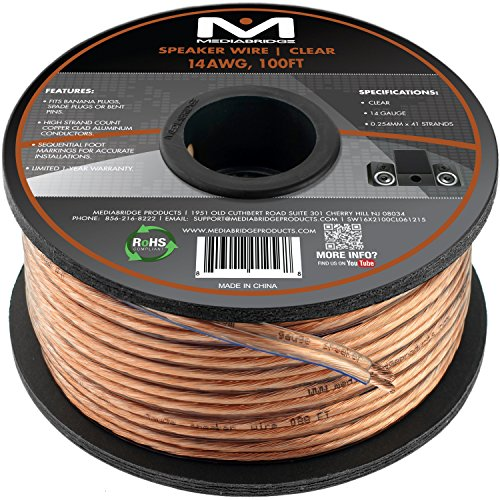 Mediabridge 14AWG 2-Conductor Speaker Wire 100 Feet, Clear- Spooled Design with Sequential Foot Markings Part# SW-14X2-100-CL