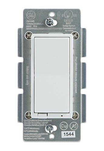 GE Z-Wave Plus Wireless Smart Lighting Control Smart Switch, On/Off, In-Wall, Includes White & Light Almond Paddles, Works with Amazon Alexa, 14291