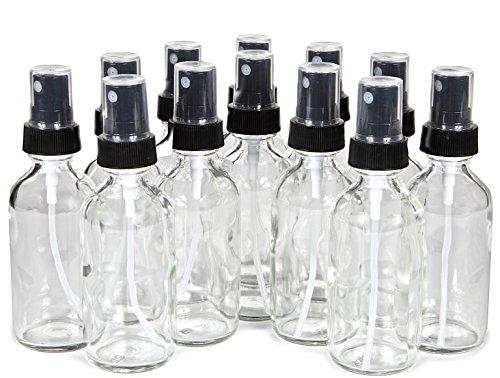 Vivaplex, 12, Clear, 2 oz Glass Bottles, with Black Fine Mist Sprayers