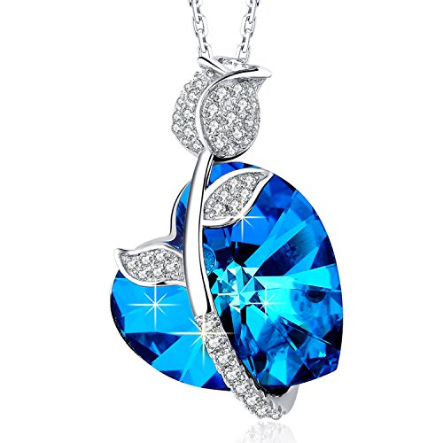 """MEGA CREATIVE JEWELRY 925 Sterling Silver """"Royal Rose"""" Blue Heart Pendant Necklace Made with Swarovski Crystals Jewelry for Women, Mothers Day Gifts"""