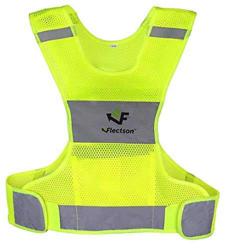Flectson™ Reflective Vest for Running or Cycling Women and Men, with Pocket, Gear for Jogging, Biking, Motorcycle, WalkingLarge
