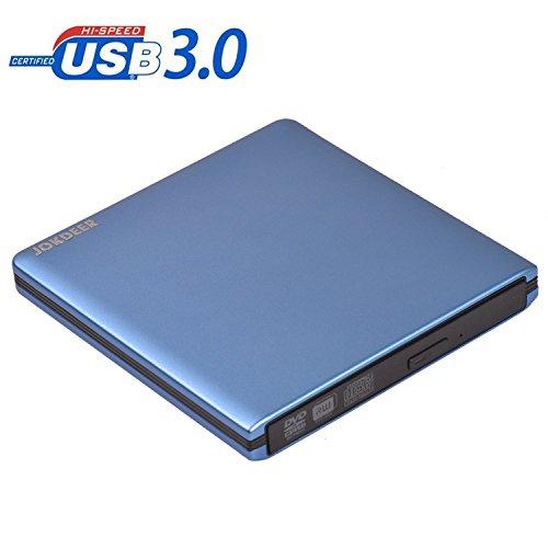 JOKDEER USB 3.0 External DVD-RW Drive Burner All-aluminum Ultra Slim Portable DVD Rewriter Burner CD/DVD-RW Writer Burner for Laptop and Desktop PC Windows and Linux OS Apple Mac Macbook Pro Blue