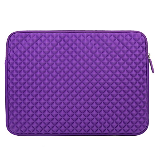 Laptop Sleeve, EveCase 15~ 15.6 inch Diamond Foam Splash & Shock Resistant Neoprene Universal Sleeve Zipper Case Bag for Chromebook Ultrabook Laptop Notebook Computer – Purple