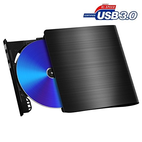 USB 3.0 Ultra Portable DVD Drive Burner, External Slim DVD +/-RW Burner Writer DVD CD ROM Drive for Apple Mac Macbook Pro, Windows 10 and 8 Laptop Desktops black