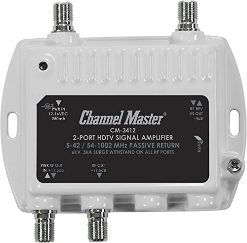 Channel Master CM 3412 2-Port Ultra Mini Distribution Amplifier for cable and antenna signals CM3412