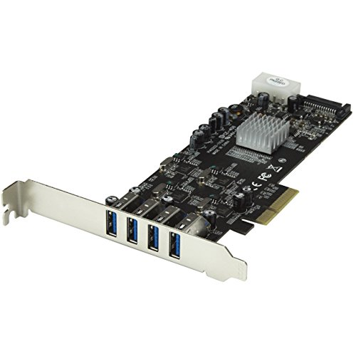 SATA / LP4 Power – UASP – 4 Port PCI Express PCIe SuperSpeed USB 3.0 Card Adapter w/ 4 Dedicated 5Gbps Channels