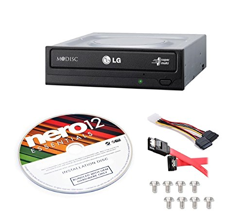LG Internal 24x Super Multi with M-DISC  Support DVD Burner GH24NSC0B Bundle with Nero 12 Essentials Burning Software + Cable Kit