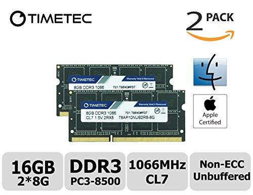 Timetec Hynix IC Apple 16GB 2x8GB 1066 MHz PC3-8500 204-Pin DDR3 Memory Kit for iMac 27-Inch Late 2009, Mac Mini Mid 2010 Server, Mac Mini Mid 2010 and MacBook Pro 13-Inch Mid 2010