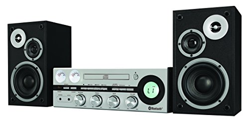 Classic Retro Bluetooth Stereo System with CD player, FM radio, Aux-in, with Removable Speaker Grills