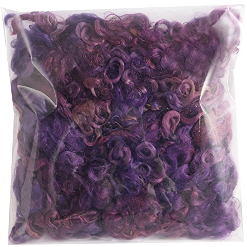 Real Mohair Wool Locks, Organic Hand Dyed Fiber for Felting, Blending, Spinning, Knitting, Doll Hair and Embellishments. 1 Ounce Plum