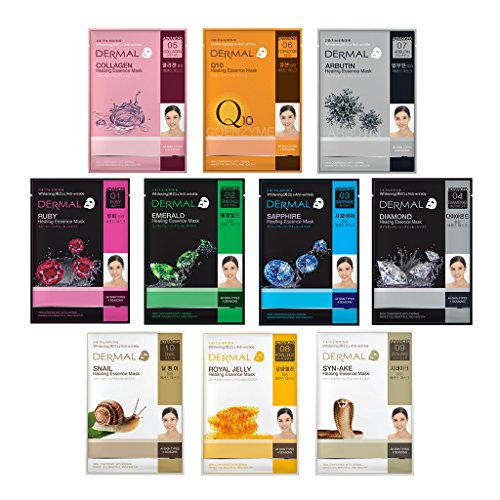 Dermal Korea Advanced Healing Essence Mask Full Face Facial Mask Sheet 28g, Pack of 10