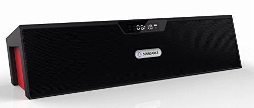 Soundance Portable Stereo Bluetooth Speakers with Enhanced Bass Resonator, FM Radio, Built-in Mic, LED Display, Alarm clock, 3.5 mm Audio Jack, support TF card/Micro SD card and USB input, up to 35ft Bluetooth Range, up to 8 Hours Playtime, support MP3, WAV, WMA, APE, FLAC format audio filesBlack & Red