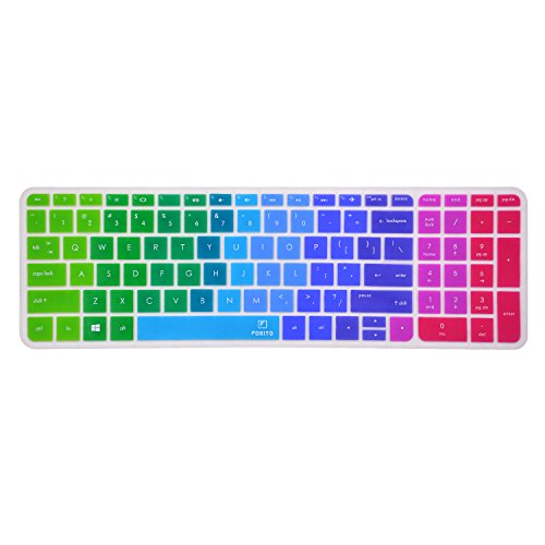 Keyboard Cover Skin for New 15.6-Inch HP Pavilion 15-ab 15-ac 15-ae 15-af 15-an 15-ak 15-ay 15-ax 15-as 15-ba 15-bc 15-bk Series, HP Envy x360 m6-ae151dx m6-p113dx m6-w US Layout Rainbow