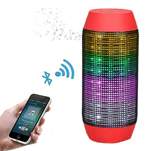 Red – Pulse Wireless Bluetooth Speaker with Dynamic Glow LED Lights and Super Bass Speakers & Microphone TF AUX USB