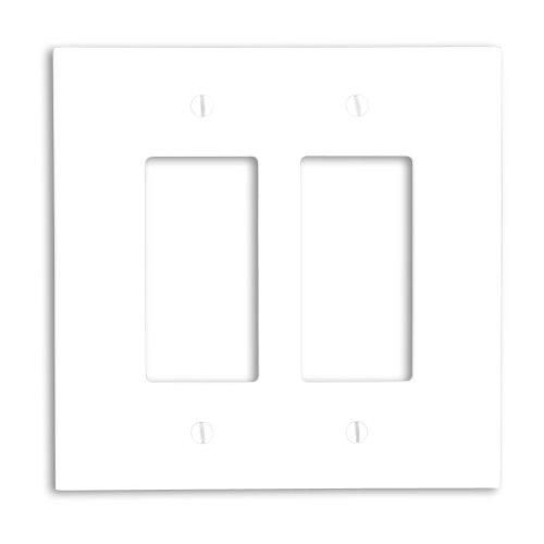Leviton 88602 2-Gang Decora/GFCI Device Wallplate, Oversized, Thermoset, Device Mount, White