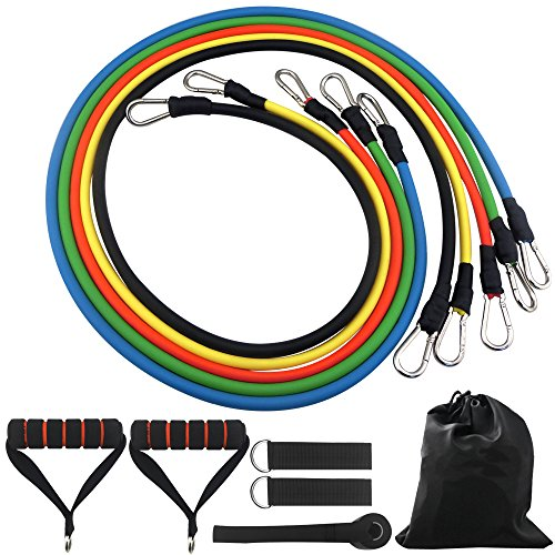 DONGJI Resistance Band Set with Door Anchor, Ankle Strap for Fitness and Exercise5 Colors