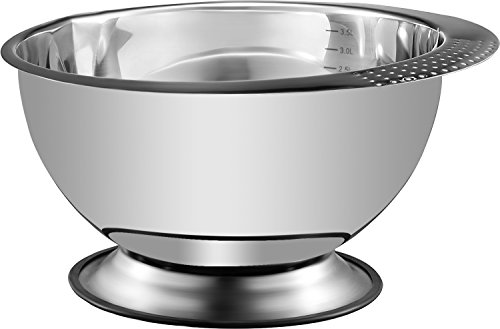 Heavy Duty, Large 3.5 Quart Capacity Wide Prep Bowl Easy To Clean, Oder and Stain Resistant, Retains Heat, Skid Proof – Pro Chef Kitchen Tools Stainless Steel Mixing Bowl
