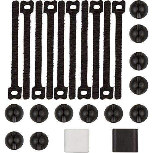 Cable Management by NeetGeek   24 Piece Cable Organizer   Adhesive Cable Clips and Reusable Zip Ties