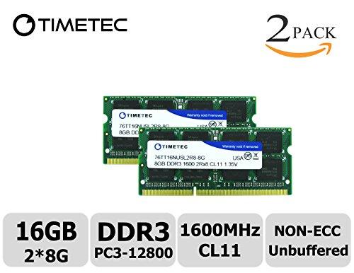 Timetec Hynix IC 16GB Kit2x8GB DDR3 1600MHz PC3-12800 Non ECC Unbuffered 1.35V CL11 2Rx8 Dual Rank 204 Pin SODIMM Laptop Notebook Computer Memory Ram Module Upgrade16GB Kit2x8GB