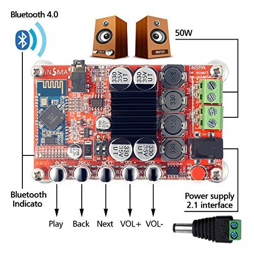 INSMA New TDA7492P Hifi Mini Bluetooth Amplifier 50W+50W Dual Channel Bluetooth Audio Receiver Power Amplifiers Digital Stereo Amplifier Amplify Amp Ampli Board with heat sink