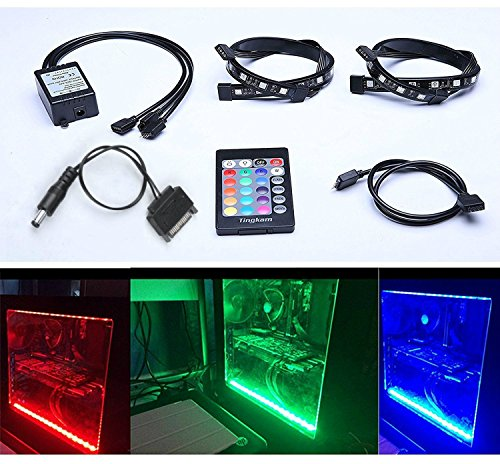 Tingkam Full Kit RGB 5050 SMD 2pcs 18leds 30cm LED Strip Light Attached to Your PC Case via Magnet with 24 key Remote Controller for Desktop Computer Mid Tower Case The 2nd Generation