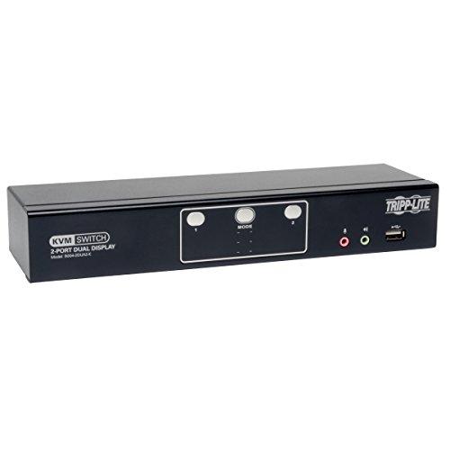 Tripp Lite 2-Port Dual Monitor DVI KVM Switch with Audio, USB 2.0 Hub & Cables B004-2DUA2-K