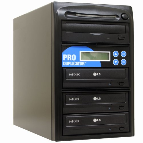 Produplicator 1 to 3 24X CD DVD Duplicator Copier M-Disc Support Burner with Nero Essentials CD/DVD Burning Software Standalone Duplication Tower