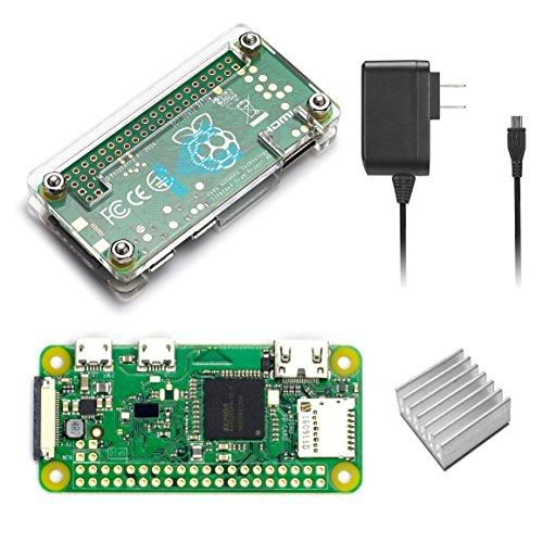 Raspberry Pi Zero W Basic Starter Kit–Includes Pi Zero W -Power Supply & Clear Protective Case
