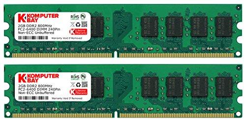 Komputerbay 4GB 2X 2GB DDR2 800MHz PC2-6300 PC2-6400 DDR2 800 240 PIN DIMM Desktop Memory