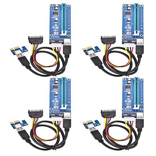 Optimal Shop PCI Express 16x to 1x Powered Riser Adapter Card w/60cm USB 3.0 Extension Cable and 4-Pin MOLEX to SATA Power Cable-GPU Riser Extender Cable-Ethereum Mining ETH 4 Pack 4 Pin
