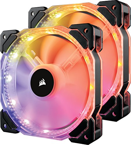 Corsair HD Series HD140 RGB LED 140mm High Performance RGB LED PWM Dual Fans with Controller Cooling CO‐9050069‐WW
