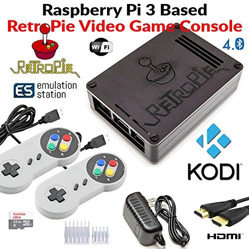 Raspberry Pi 3 Based Retro Game Console, 32GB Edition Black Matte Case with Heatsinks Installed – RetroBox