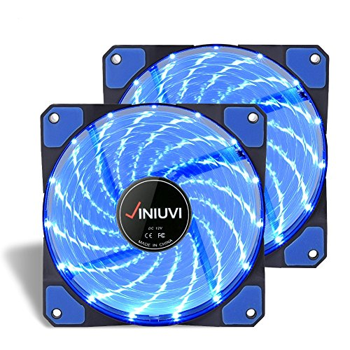 2 Pack Blue LED Case Fans Light Up Computer With Cool Look. Reinforced Hydraulic Bearing with 120mm DC 15 LED Illuminating Cooling PC Computer. Quiet, Durable, Enhances Performance of CPU