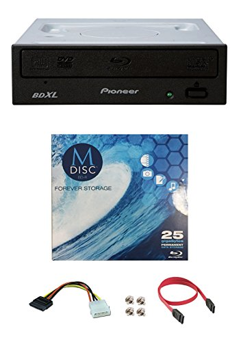 Pioneer 16x BDR-2209 Internal Blu-ray Burner Bundle with 1 Pack M-DISC BD and Cable Accessories Supports BDXL, SATA Interface