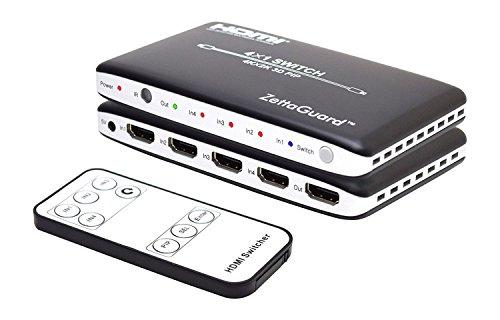 Zettaguard 4K x 2K 4 Port 4 x 1 HDMI Switch with PIP and IR Wireless Remote Control, HDMI Switcher Hub Port Switches ZW410