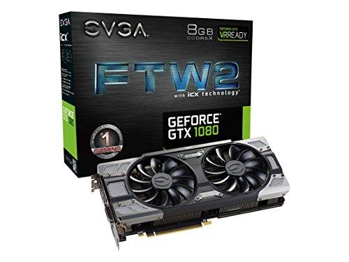 9 Thermal Sensors & RGB LED G/P/M Graphics Card 08G-P4-6686-KR – EVGA GeForce GTX 1080 FTW2 11Gbps GAMING, 8GB 11GHz GDDR5X, iCX