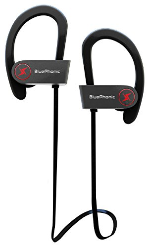 Sweat Proof Stable Fit In Ear Workout Earbuds – Ergonomic Running Earphones – Wireless Sport Bluetooth Headphones – Noise Cancelling Microphone w/ Travel Case – by Bluephonic – Hd Beats Sound Quality
