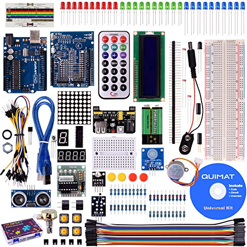 Quimat UNO Project Super Starter Kit with Tutorials, 5V Relay, UNO R3, Breadboard, Power Supply Module, Servo Motor, 9V DC Battery, Prototype Expansion Board for Arduino