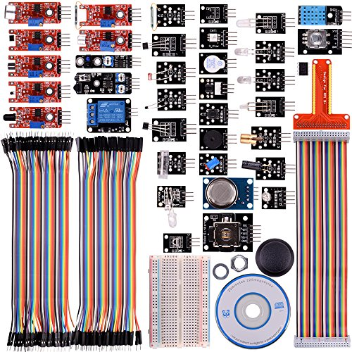 kuman Updated 37 in 1 Modules Sensor Kit with Tutorials for Raspberry Pi RPi 3 2 Model B B+ A A+, 44 Components Kits for Raspberry Pi projects K47