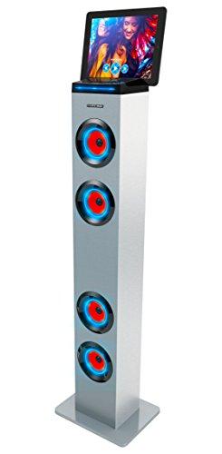 Sharper Image SBT1001WH Bluetooth Tower Speaker With Lights, FM Radio & Remote Control White