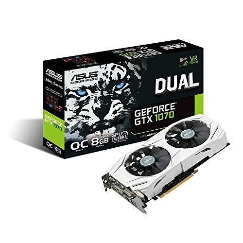ASUS GeForce GTX 1070 O8GB Dual-fan OC Edition 4K/VR Ready Dual HDMI DP 1.4 Gaming Graphics Card DUAL-GTX1070-O8G