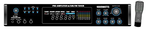 Pyle Home PT720A 1000-Watt AM/FM/Tuner Hybrid Amplifier with 70-Volt Output, Built-In Auto Mute Function And Music On Hold Output