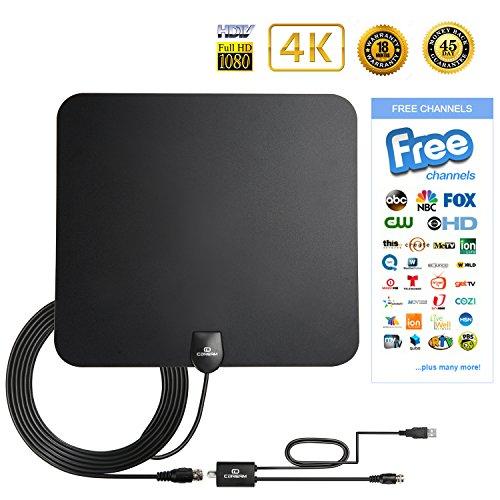 Digital Antenna TV Antenna Indoor 50 Mile 1080P HD Antenna Indoor High Perform TV Antenna Amplifier Better Reception 2017Model FCC Certified