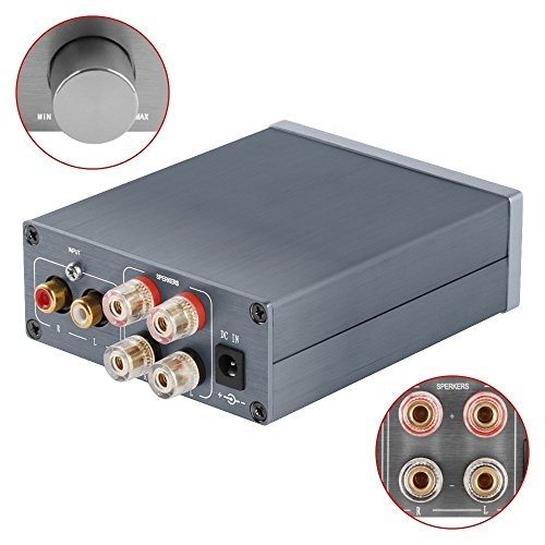 2 Channel Stereo Audio Amplifier Mini Hi-Fi Professional Amp for Home Speakers 50W x 2 Version1.0 Gray