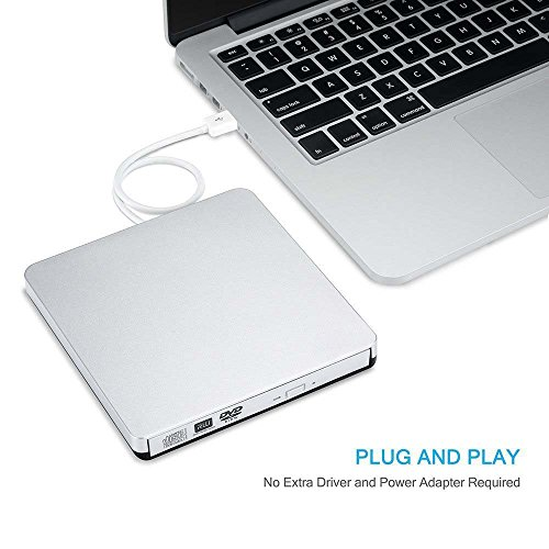 Ploveyy Latest USB 2.0 alloy Ultra Slim Portable DVD Rewriter Burner,External DVD Drive Optical Drive CD+/-RW DVD +/-RW Superdrive for Apple Mac Macbook Pro and laptop Silver